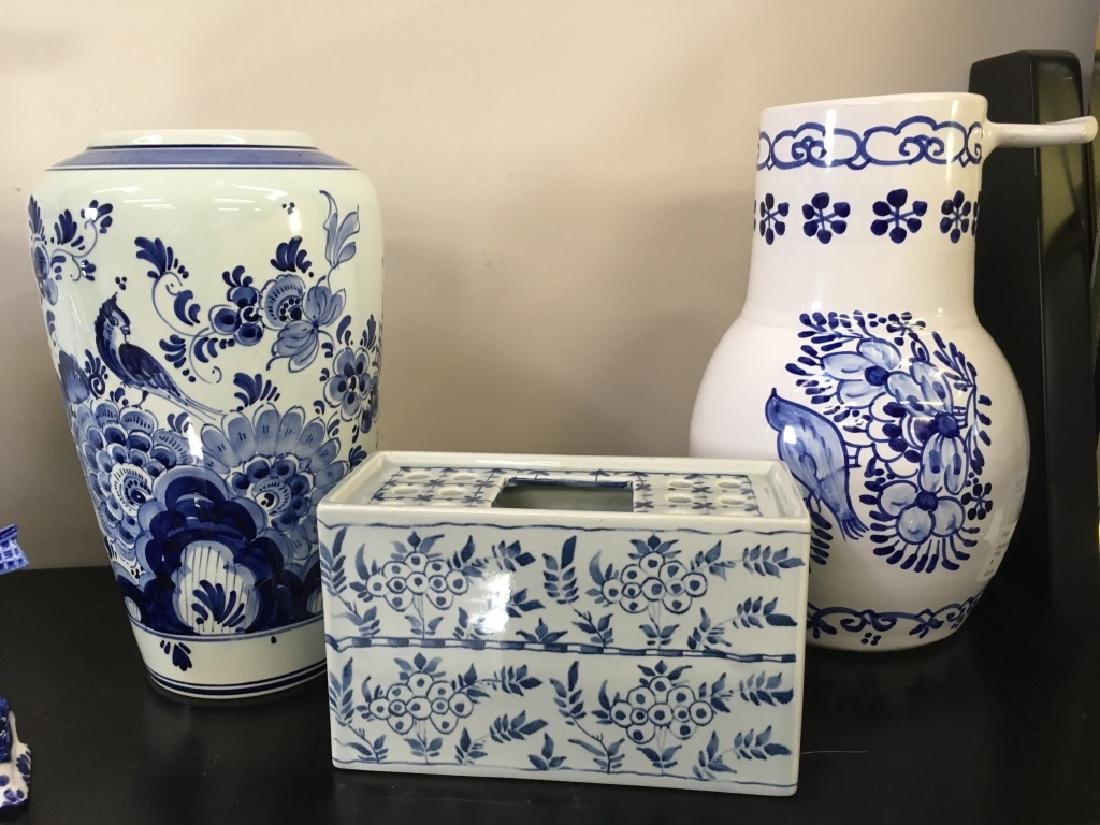 FIVE PCS OF BLUE & WHITE DELFT POTTERY - 3