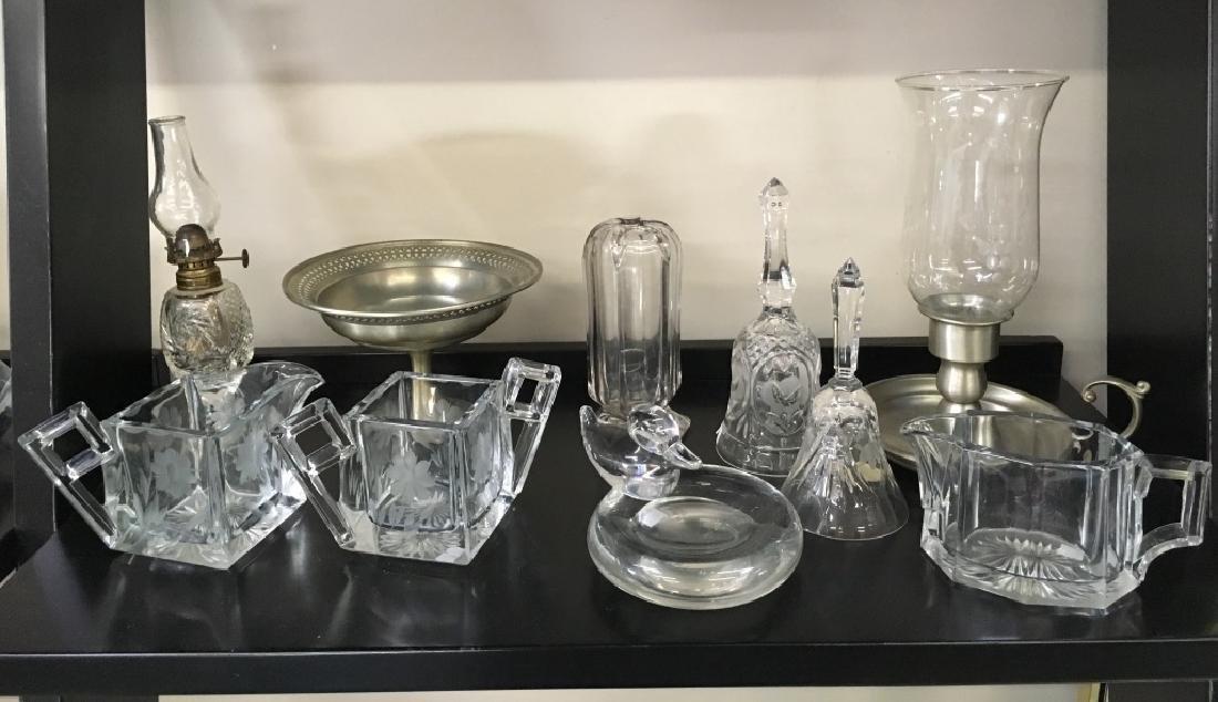 TEN PCS OF CRYSTAL, GLASS & PEWTER