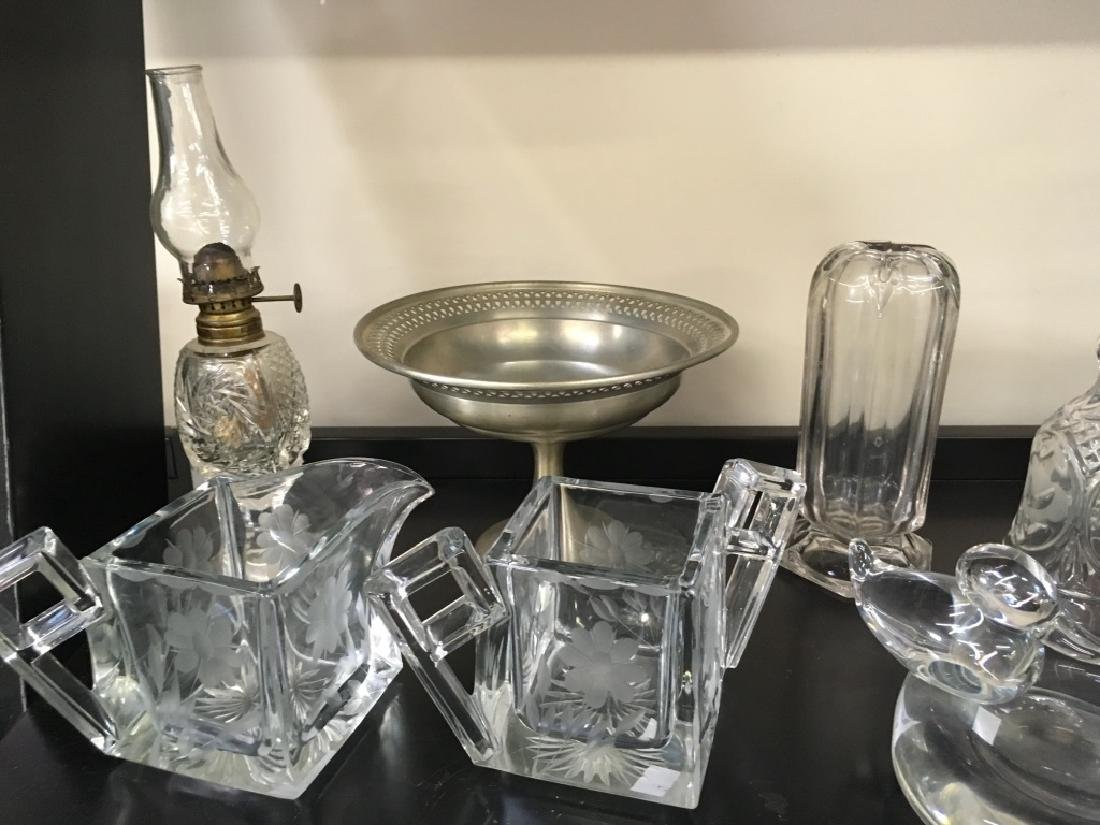 TEN PCS OF CRYSTAL, GLASS & PEWTER - 2