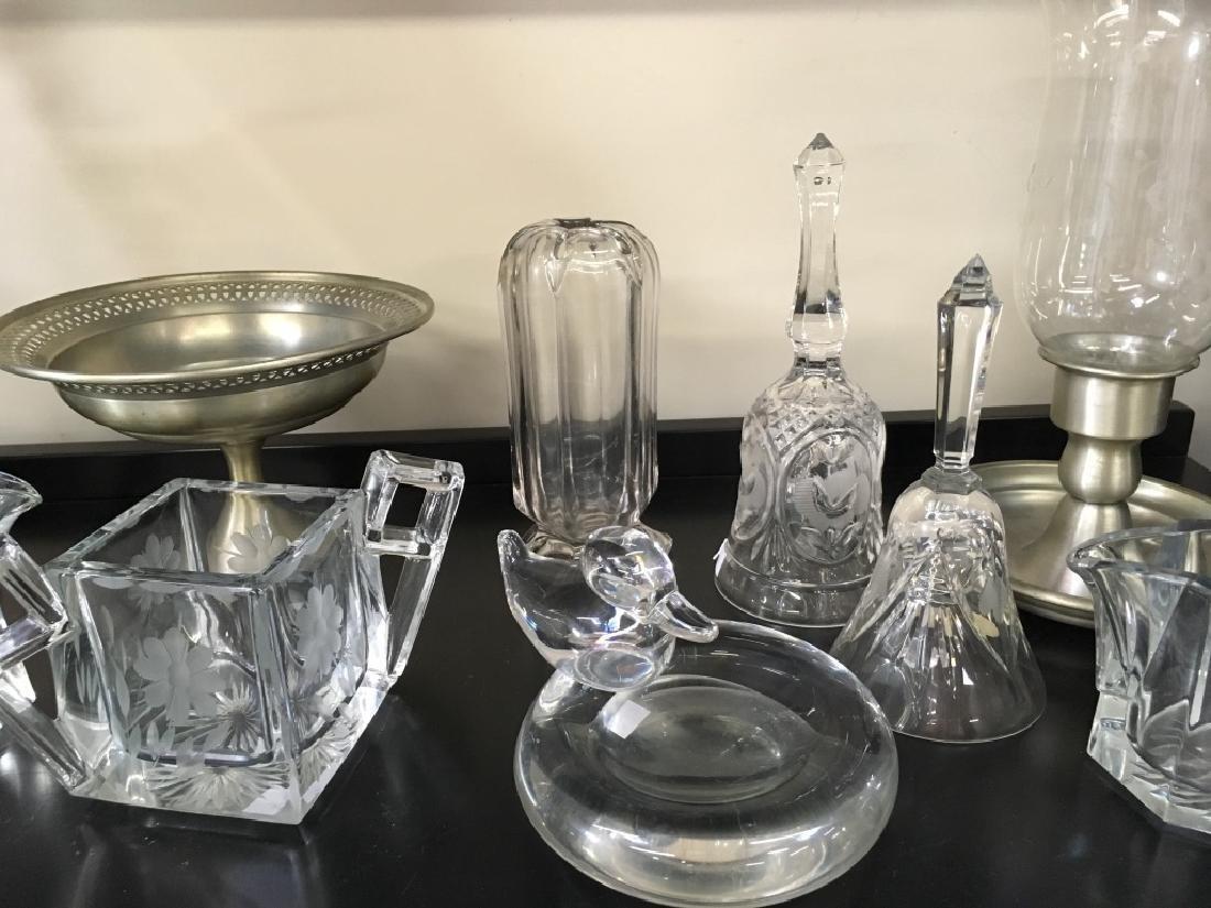 TEN PCS OF CRYSTAL, GLASS & PEWTER - 3