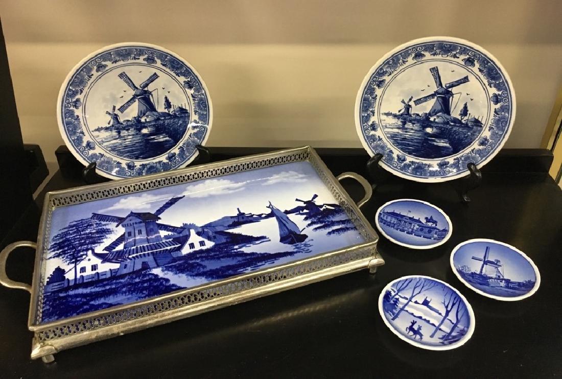 SIX PCS OF BLUE & WHITE DELFT POTTERY