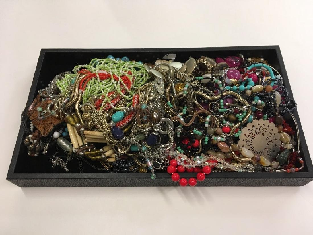 LARGE TRAY LOT OF COSTUME JEWELRY