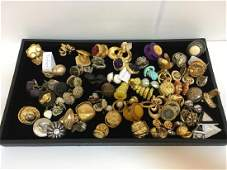TRAY LOT OF VINTAGE COSTUME CLIP EARRINGS
