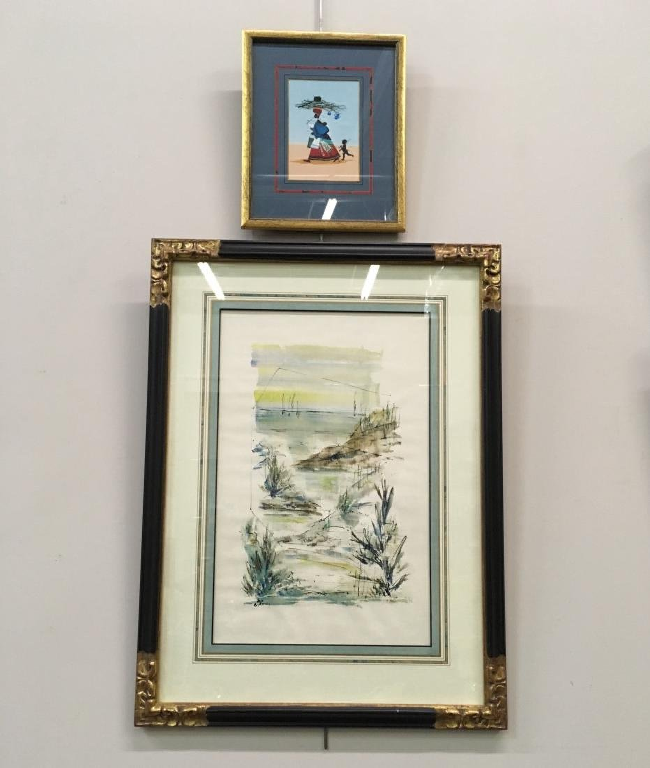 TWO PCS - WATERCOLOR BY ALFRED BIRDSEY & PRINT