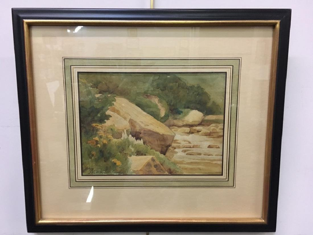 SIGNED WATERCOLOR - ROCKS AND WATER