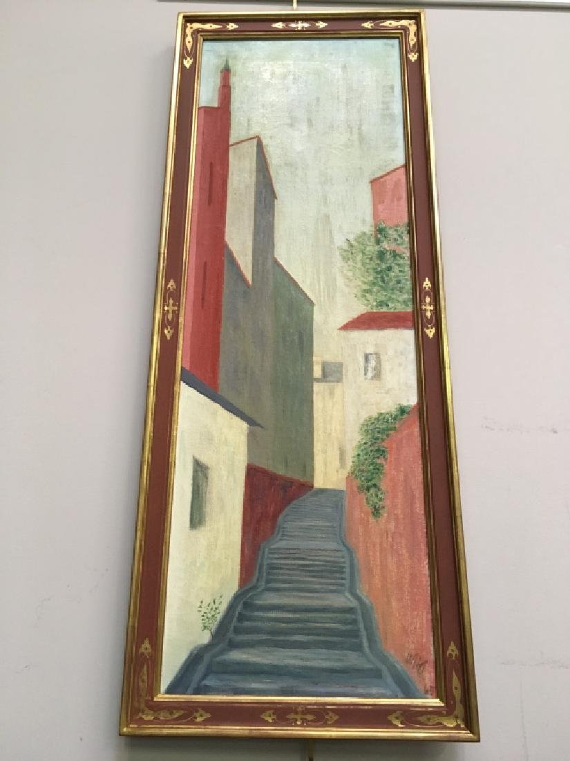 SIGNED OIL ON CANVAS - EUROPEAN HOUSES ON ALLEY
