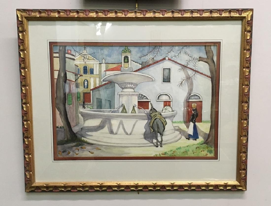 SIGNED FRAMED WATERCOLOR - DONKEY AT FOUNTAIN