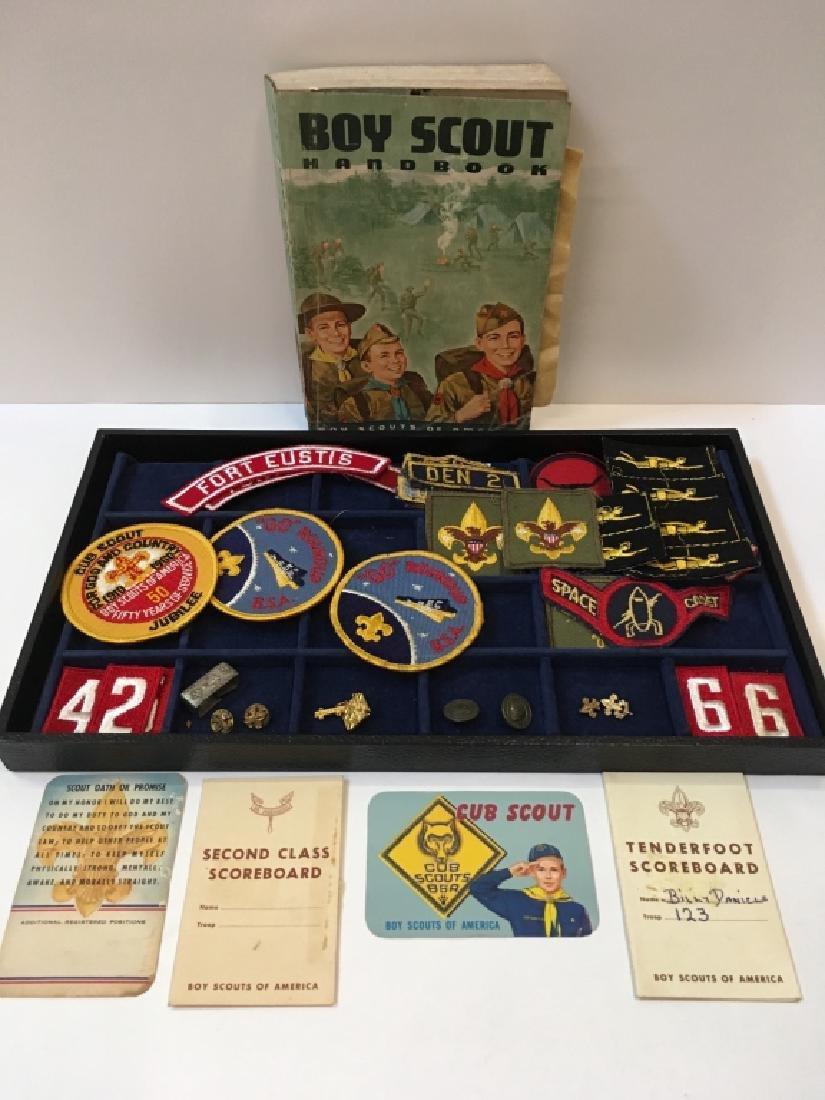 BOY SCOUT BADGES, PINS, 1965 HANDBOOK & CARDS