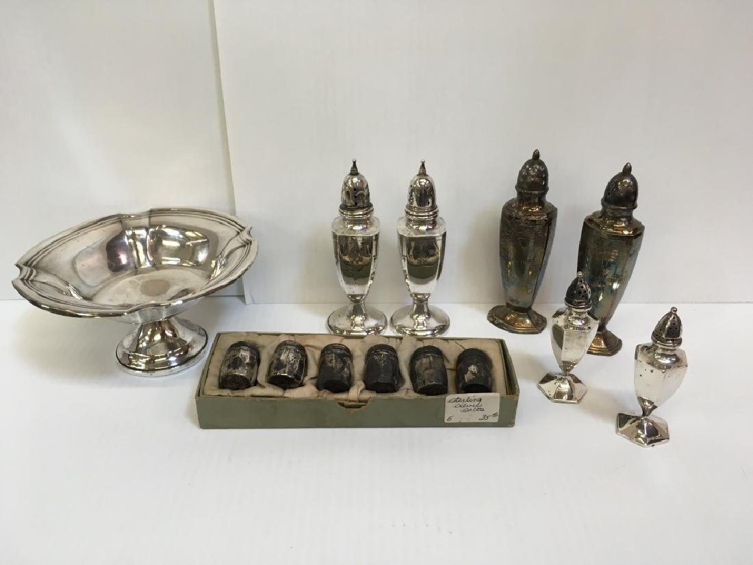 13 PCS OF STERLING & SILVER PLATE