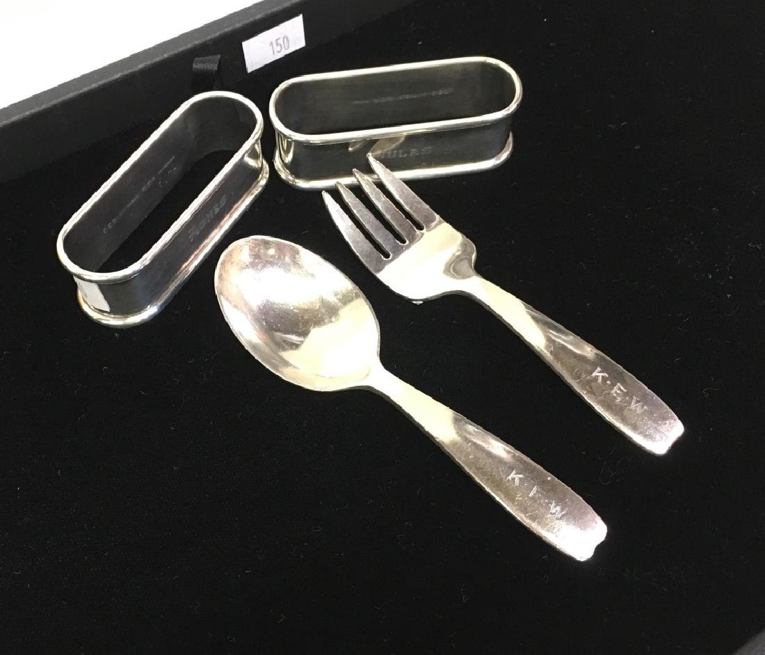 FOUR PCS OF STERLING FLATWARE & NAPKIN RINGS
