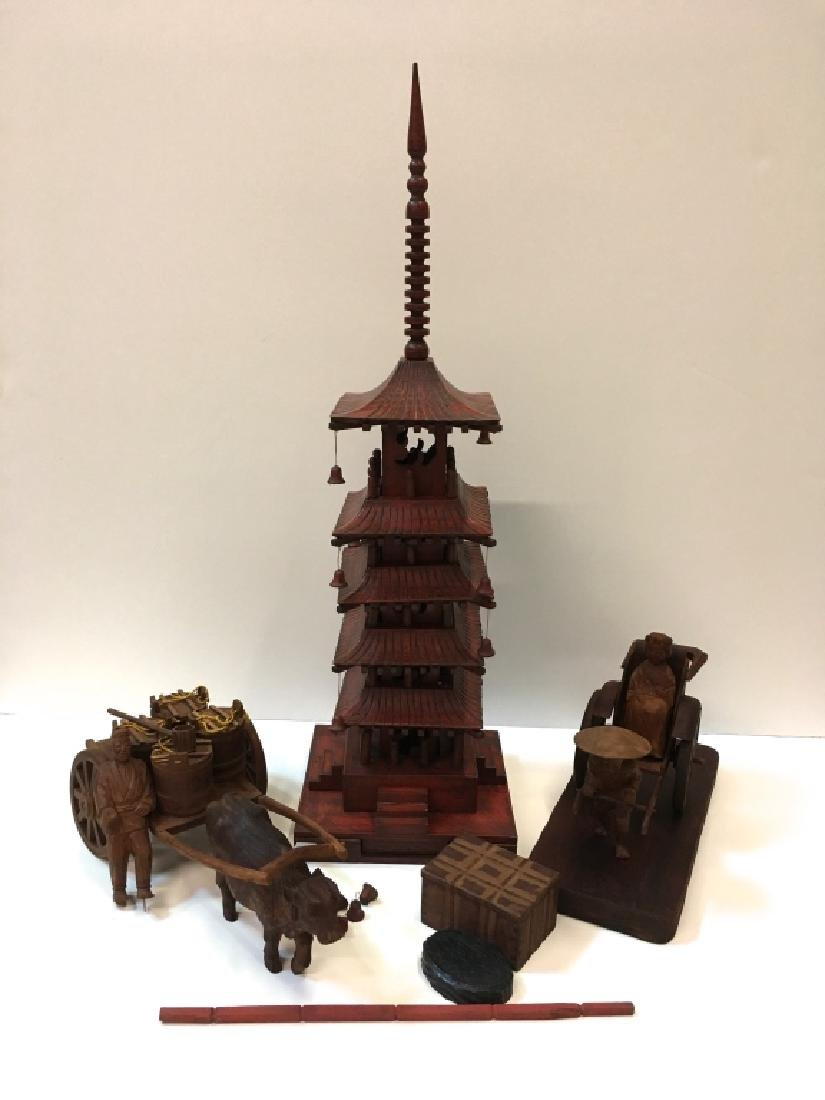 CARVED WOOD ASIAN STYLE DECORATIVES