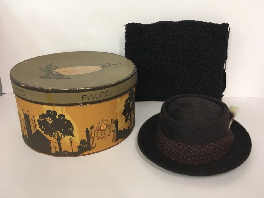 VINTAGE HAT BOX, MEN'S HAT & CURLY LAMB MUFF