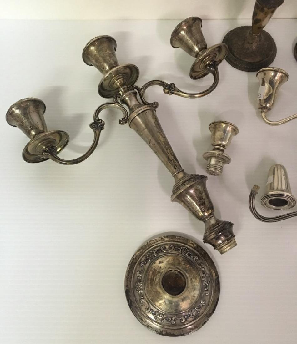 STERLING SILVER CANDLESTICKS & ARMS - SCRAP - 7