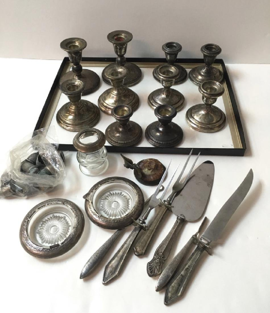 STERLING CANDLESTICKS, FLATWARE, COASTERS PLUS