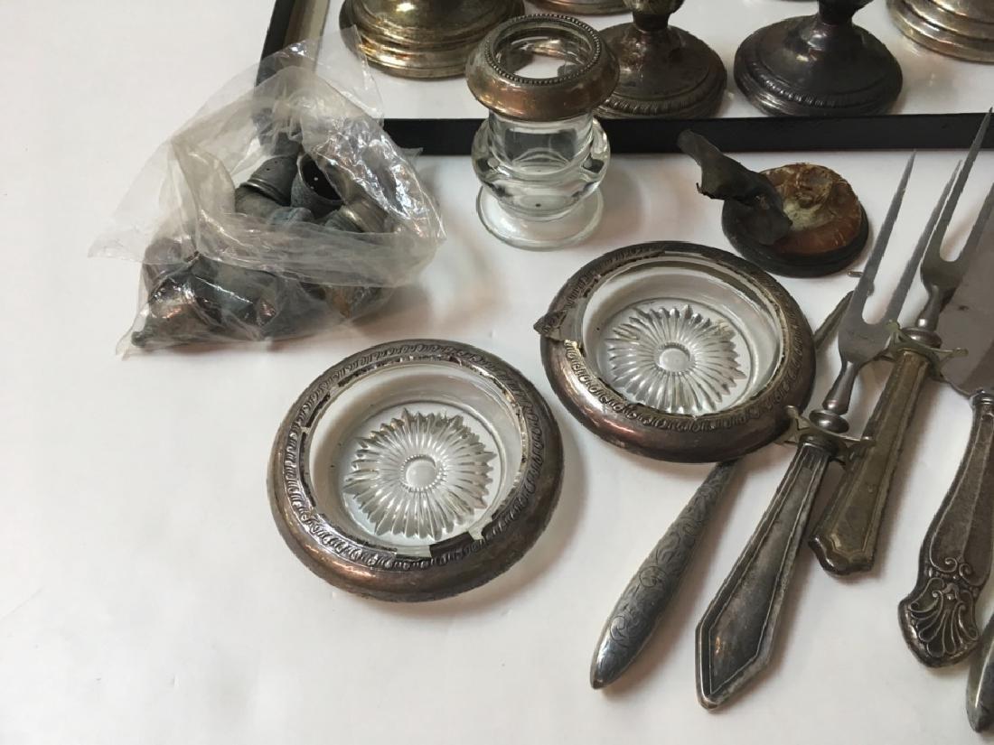 STERLING CANDLESTICKS, FLATWARE, COASTERS PLUS - 4