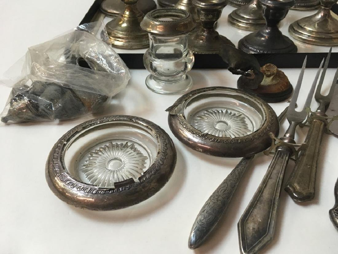 STERLING CANDLESTICKS, FLATWARE, COASTERS PLUS - 7