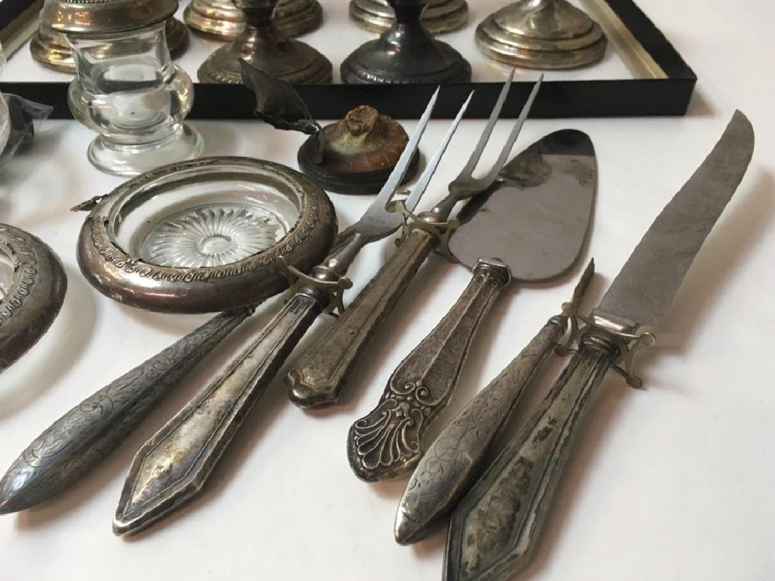STERLING CANDLESTICKS, FLATWARE, COASTERS PLUS - 8