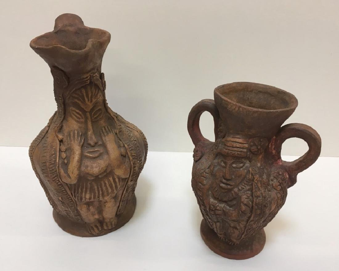 PRE-COLUMBIAN STYLE FACE PITCHER & VASE