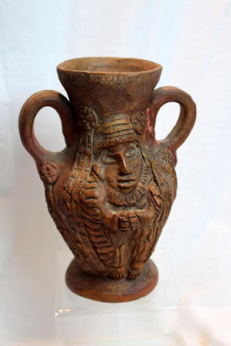PRE-COLUMBIAN STYLE FACE PITCHER & VASE - 6