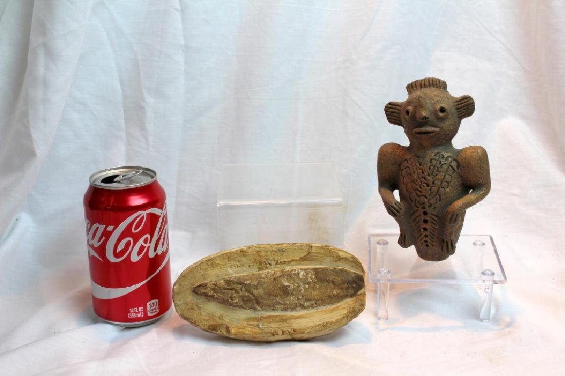 PRE-COLUMBIAN STYLED FIGURE AND FOSSIL - 3