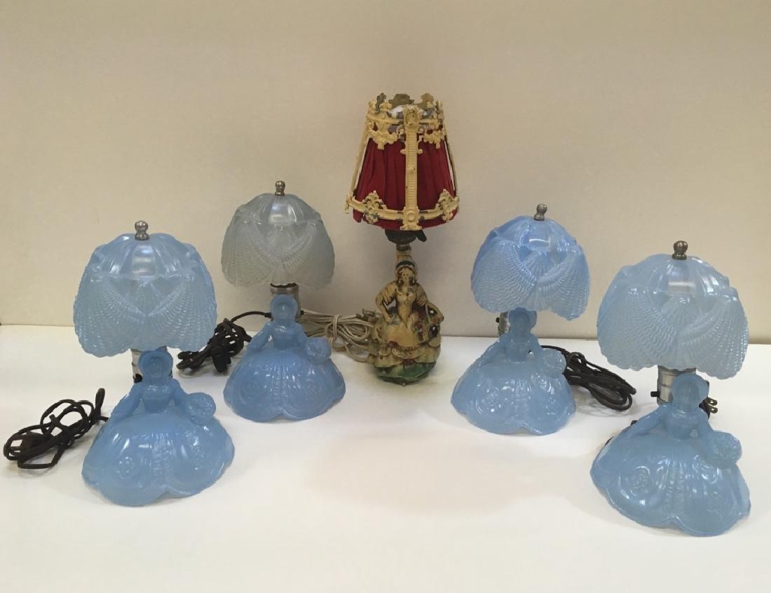 FIVE VINTAGE BOUDOIR LAMPS