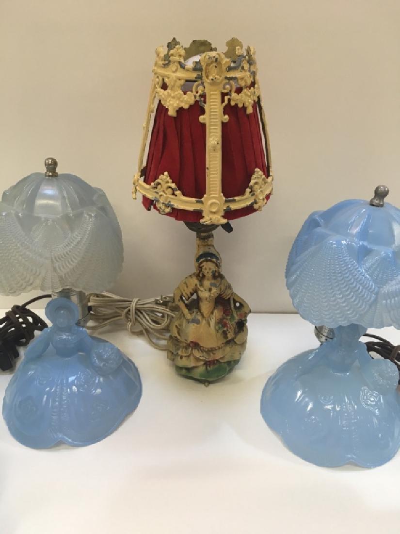 FIVE VINTAGE BOUDOIR LAMPS - 2