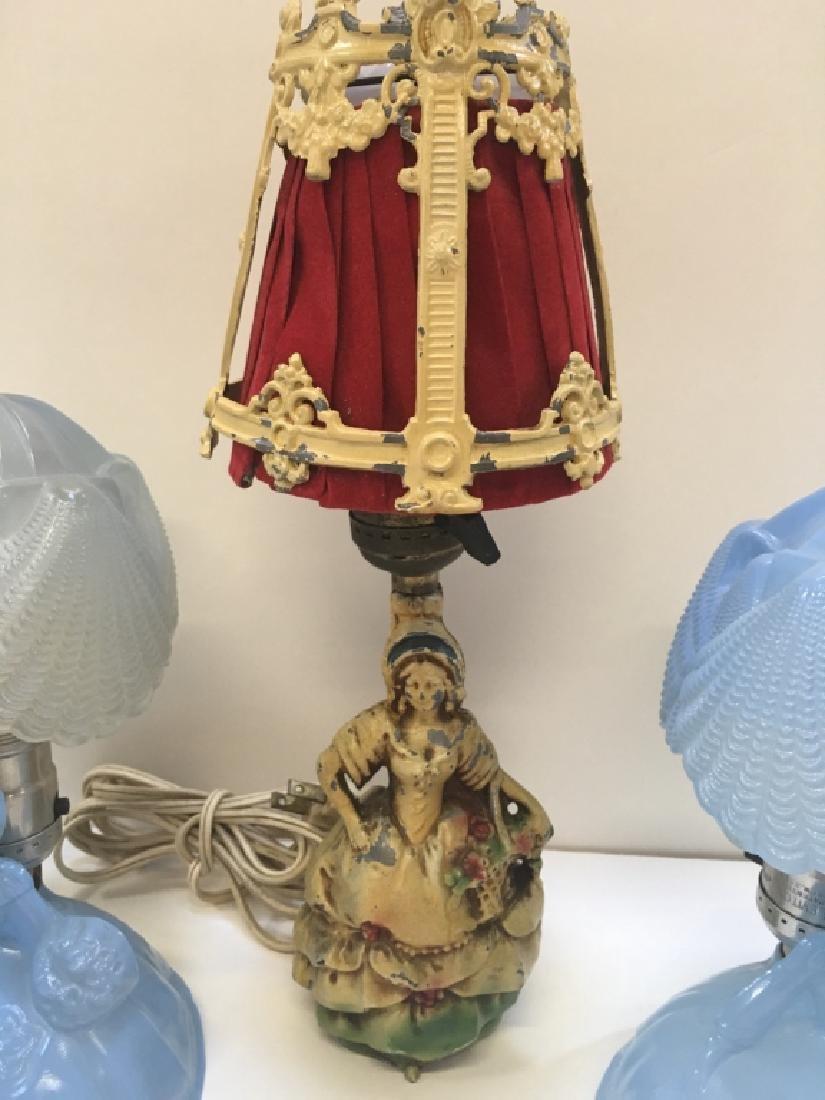 FIVE VINTAGE BOUDOIR LAMPS - 6