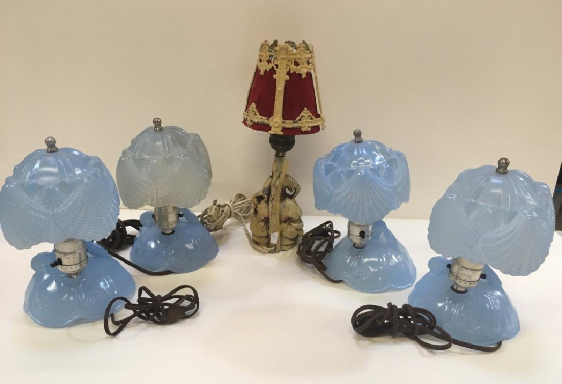 FIVE VINTAGE BOUDOIR LAMPS - 7