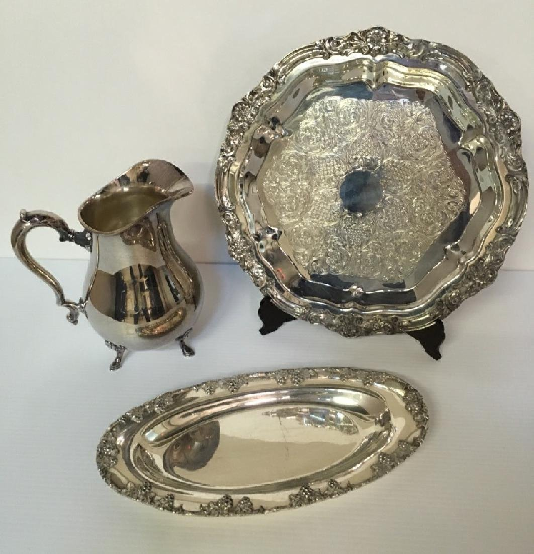 3 PCS OF SILVER-PLATE HOLLOWWARE