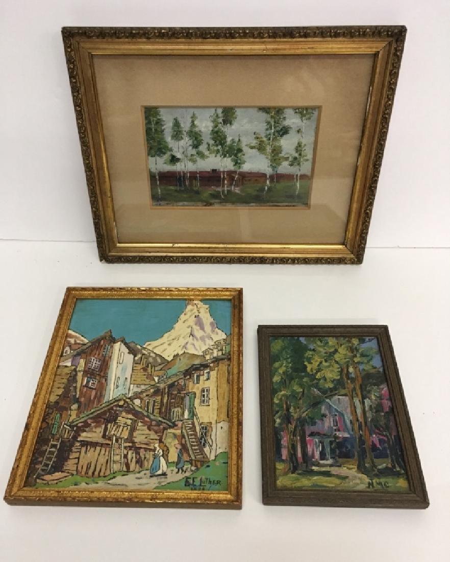 THREE FRAMED PCS OF ARTWORK