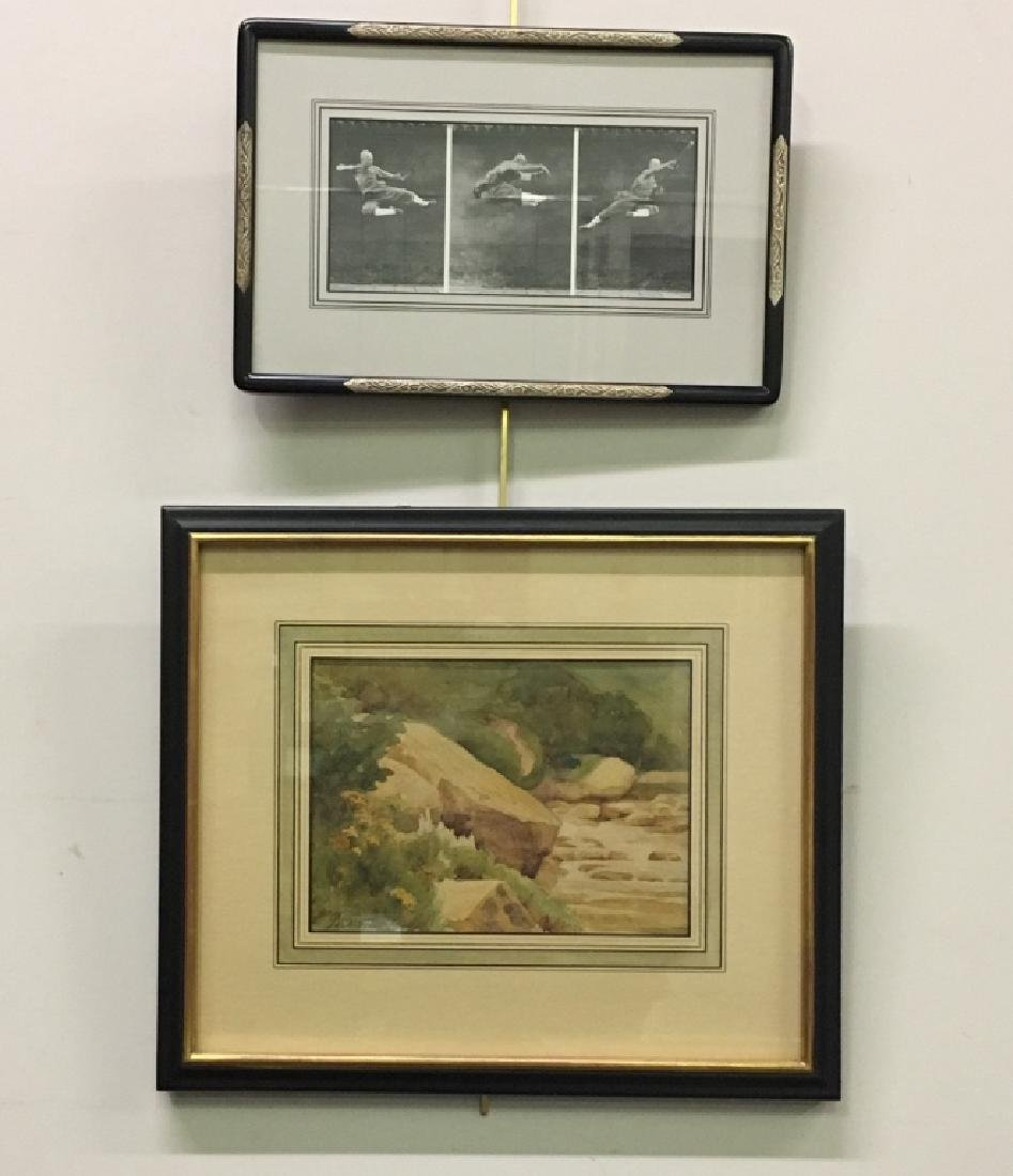 SIGNED WATERCOLOR & CHINESE MARTIAL ARTS PRINT