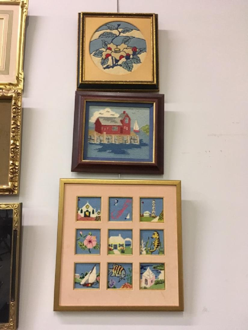 THREE FRAMED NEEDLEPOINT PICTURES