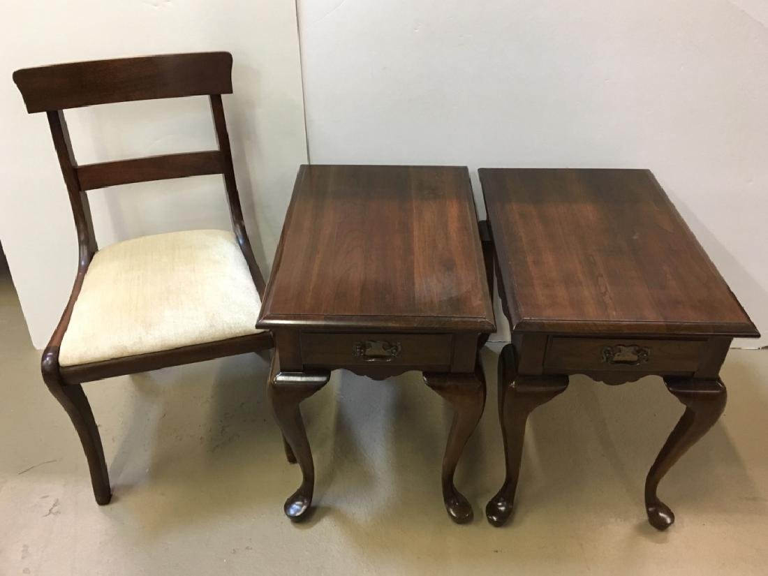 PR OF MAHOGANY END TABLES & SIDE CHAIR