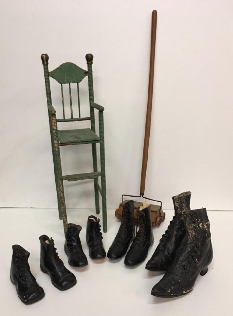 DOLL'S HIGH CHAIR, TOY BISSELL SWEEPER & SHOES