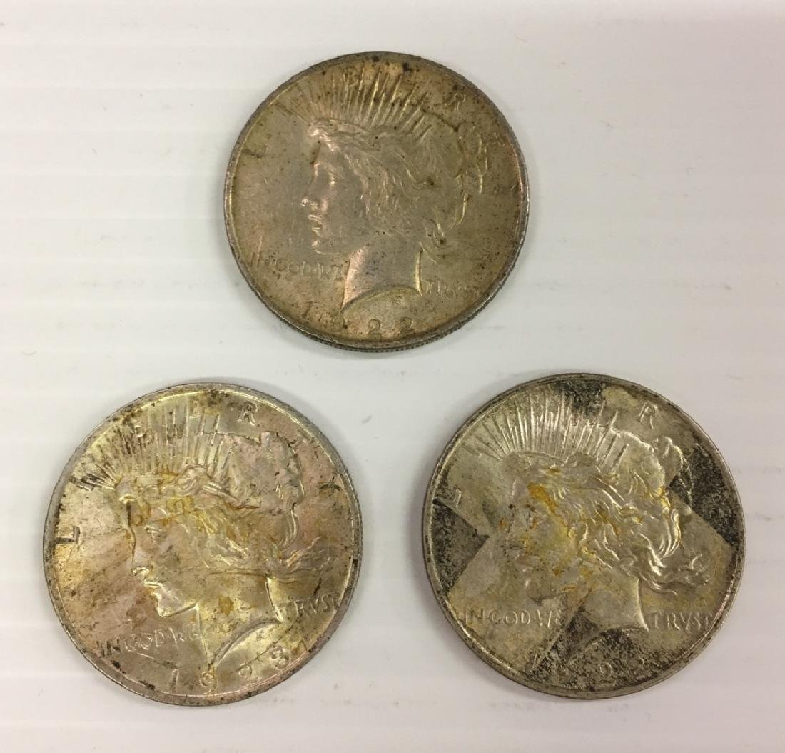 3 PEACE SILVER DOLLARS
