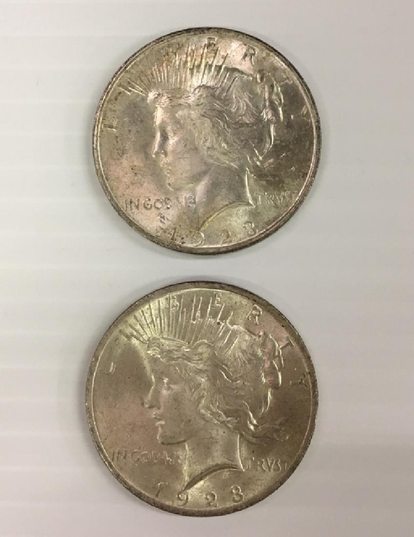 2 1923 PEACE DOLLARS