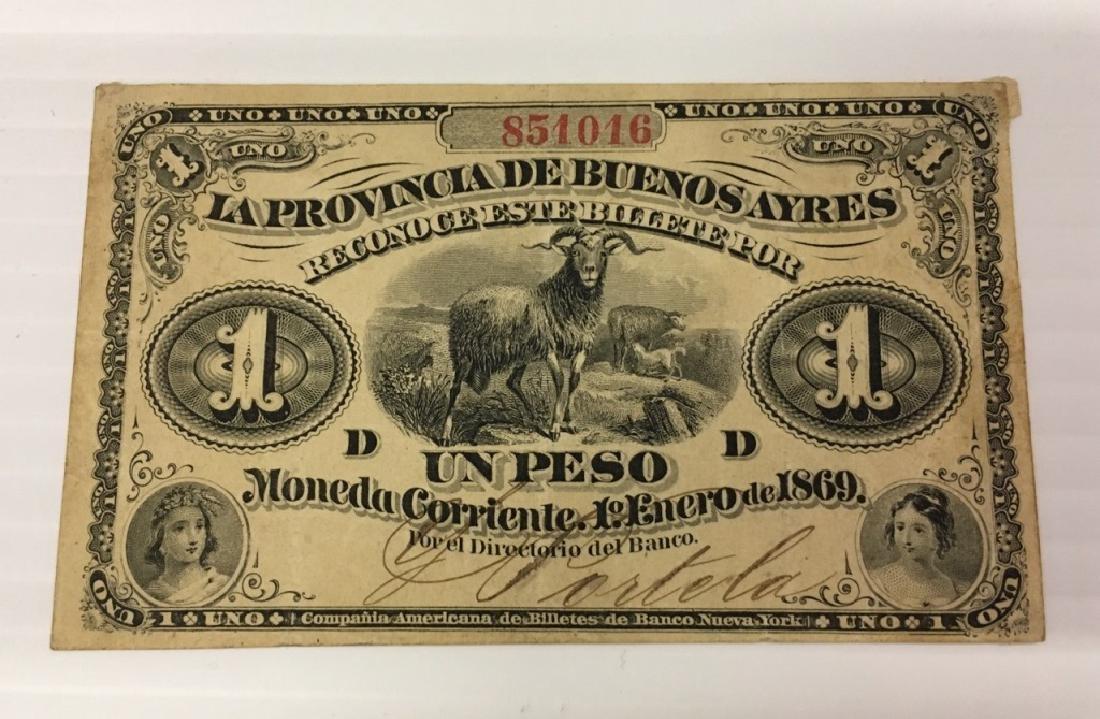 ARGENTINA 1869 LA PROVINCIA DE BUENOS AYRES 1 PESO