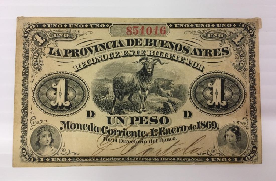 ARGENTINA 1869 LA PROVINCIA DE BUENOS AYRES 1 PESO - 3