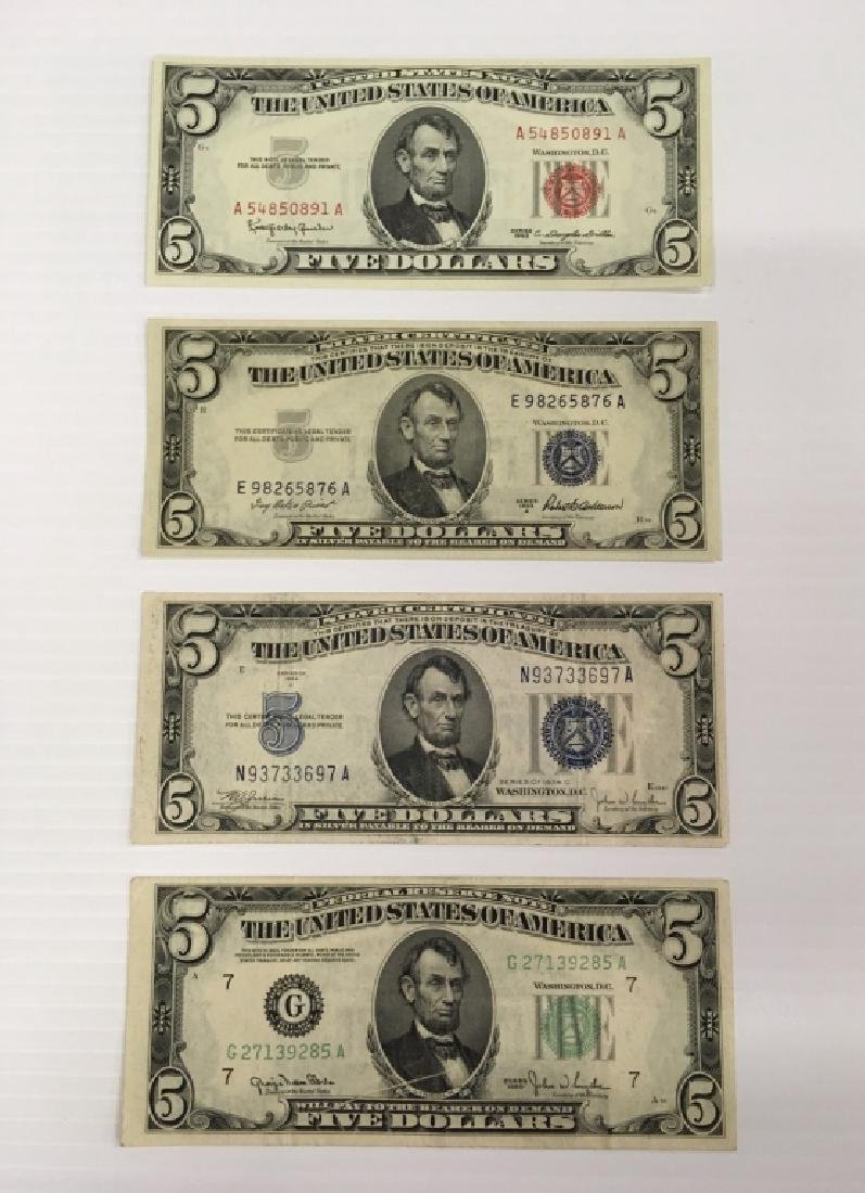4 $5 US NOTES
