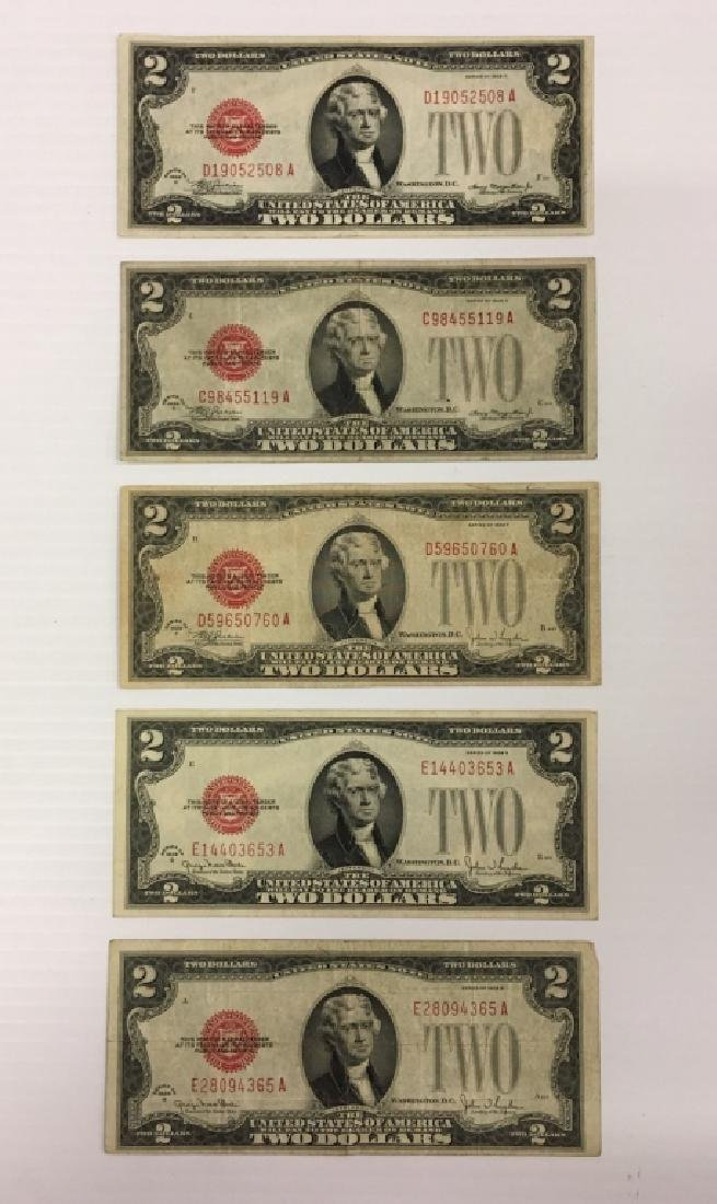 5  1928 $2 RED SEAL NOTES