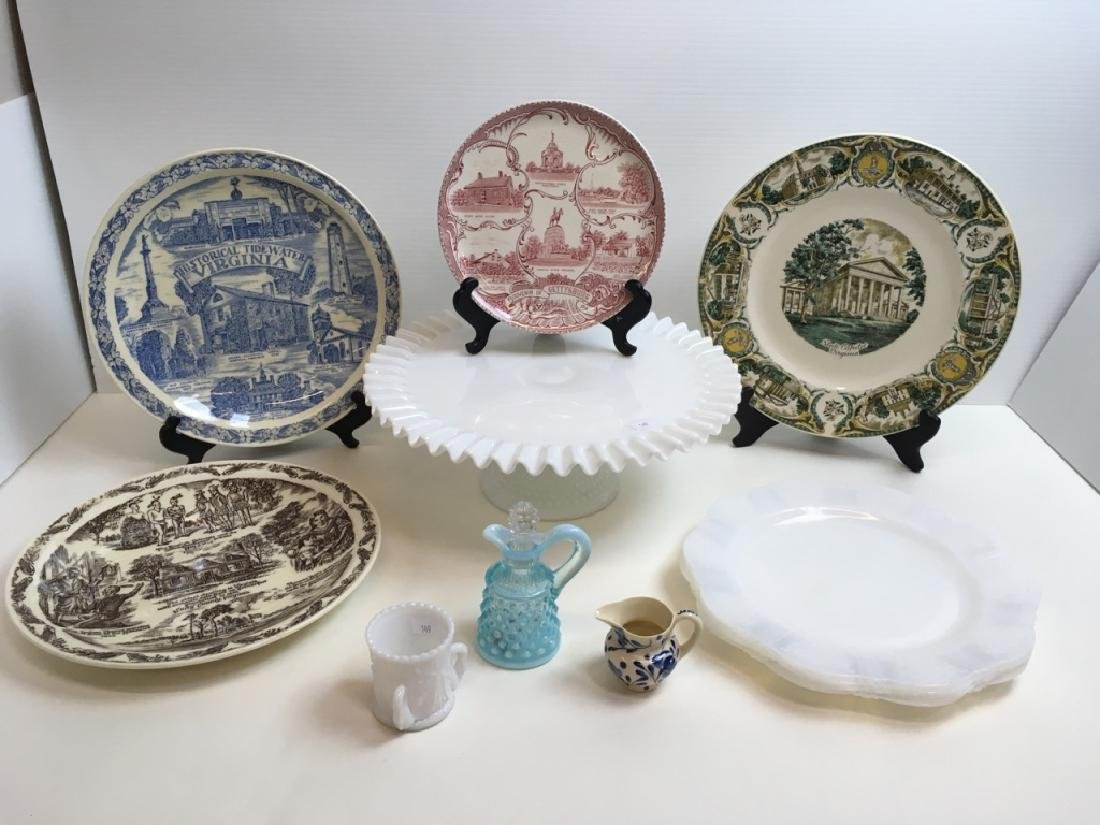 12 PCS OF GLASS WARE & SOUVENIR PLATES