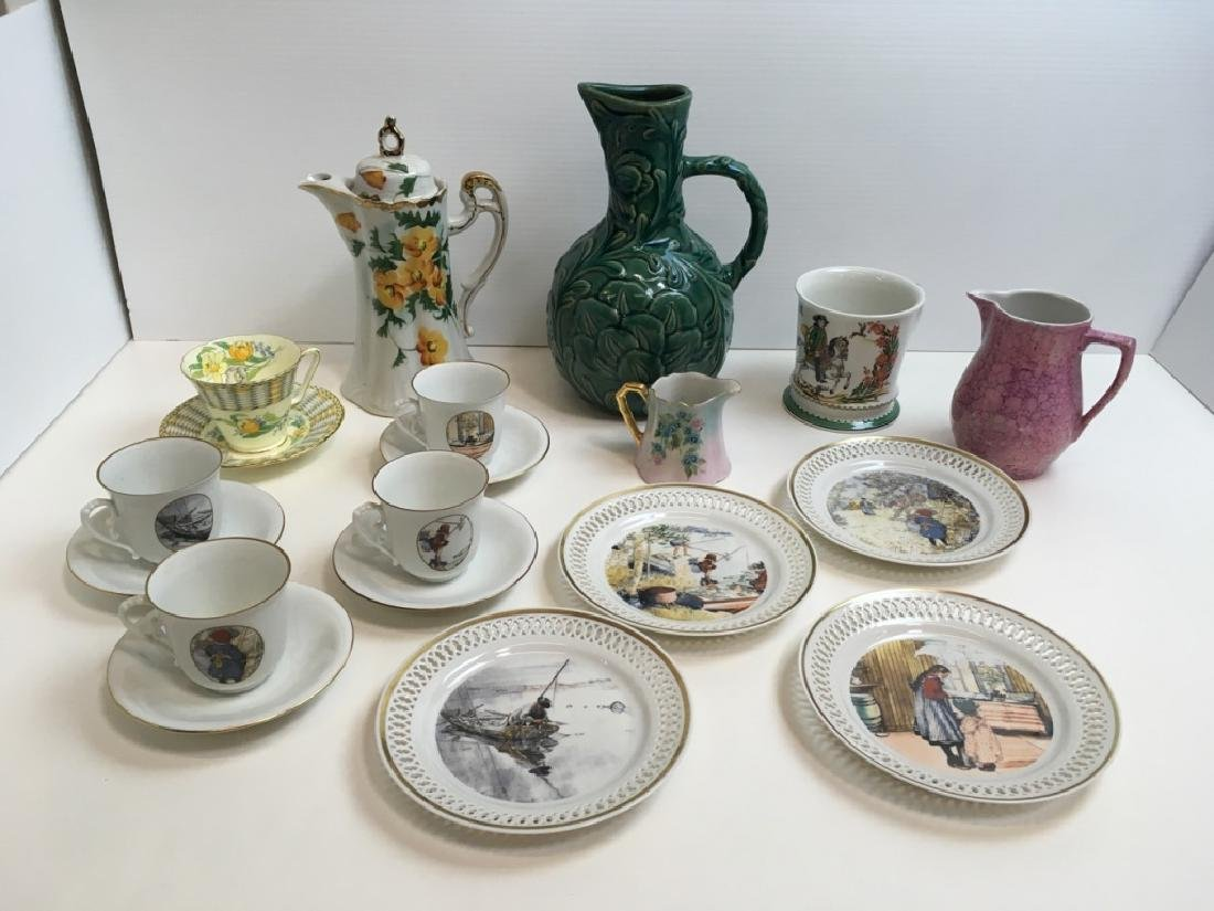 14 PCS OF DECORATIVE PORCELAINS & CERAMIC