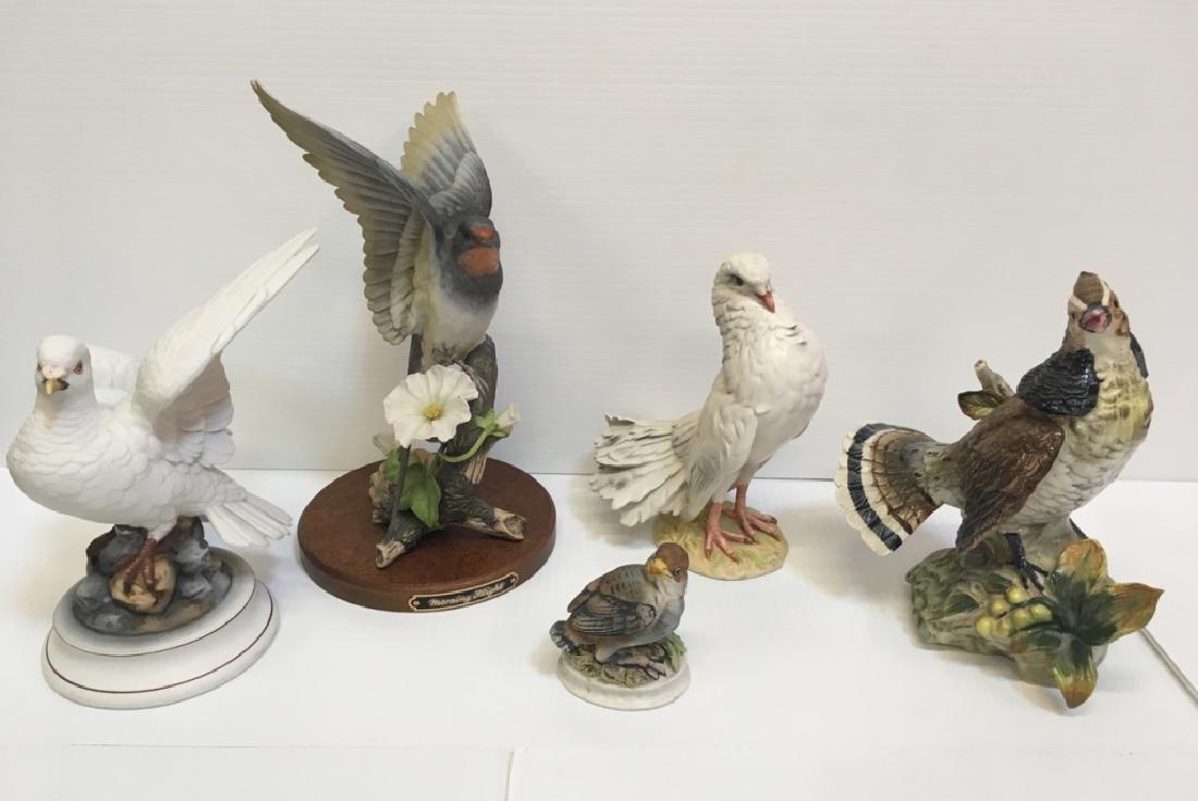 5 HAND PAINTED PORCELAIN BIRD FIGURINES