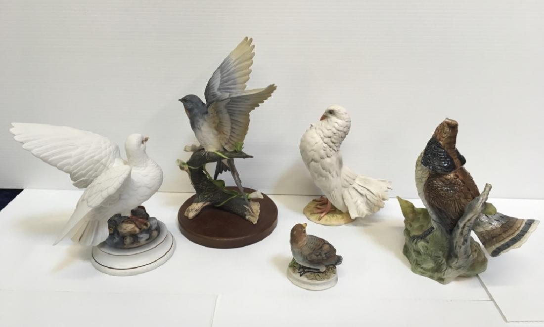 5 HAND PAINTED PORCELAIN BIRD FIGURINES - 5