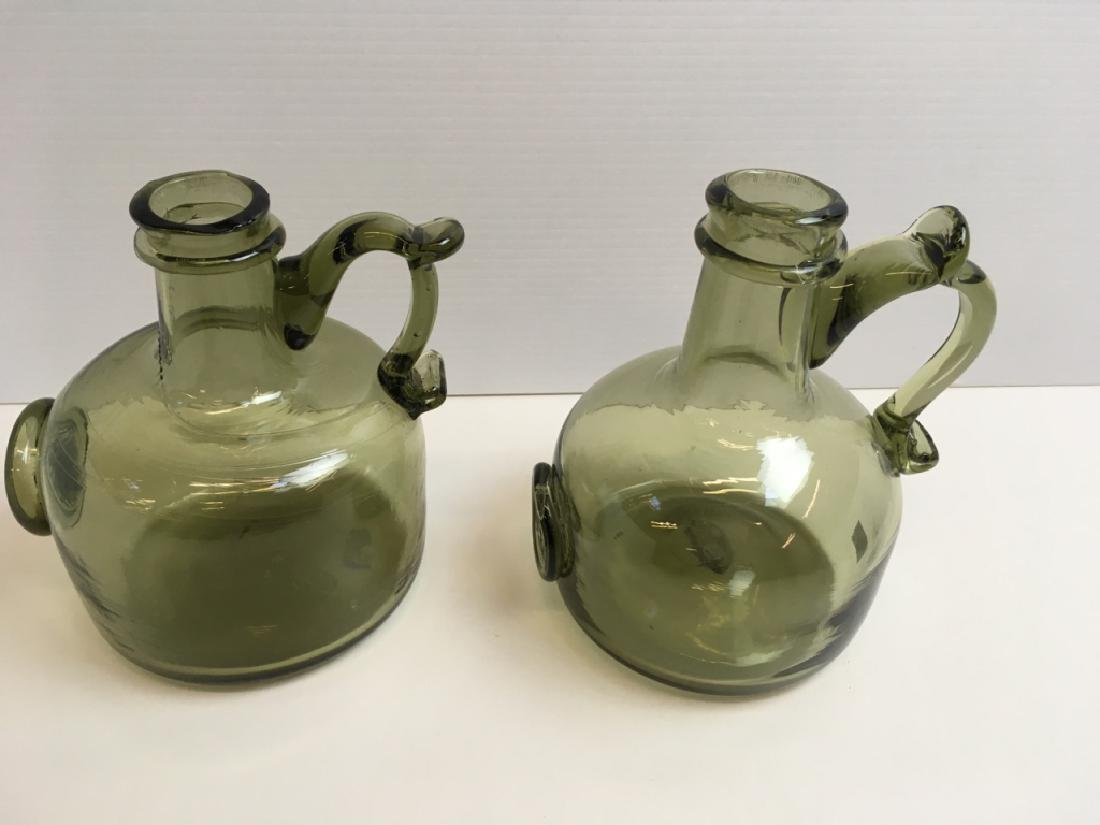 4 HAND BLOWN BOTTLES & SOUVENIR GLASS SEAL - 3