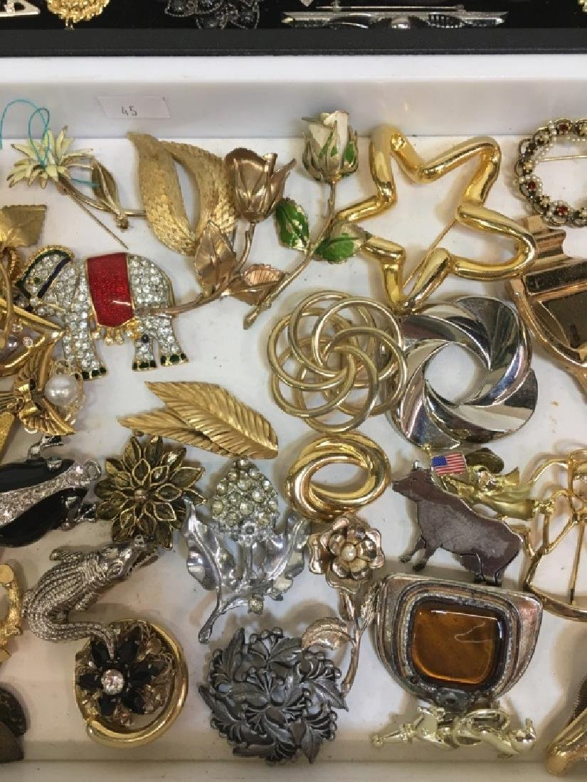 LARGE ASSORTMENT OF COSTUME JEWELRY PINS - 8