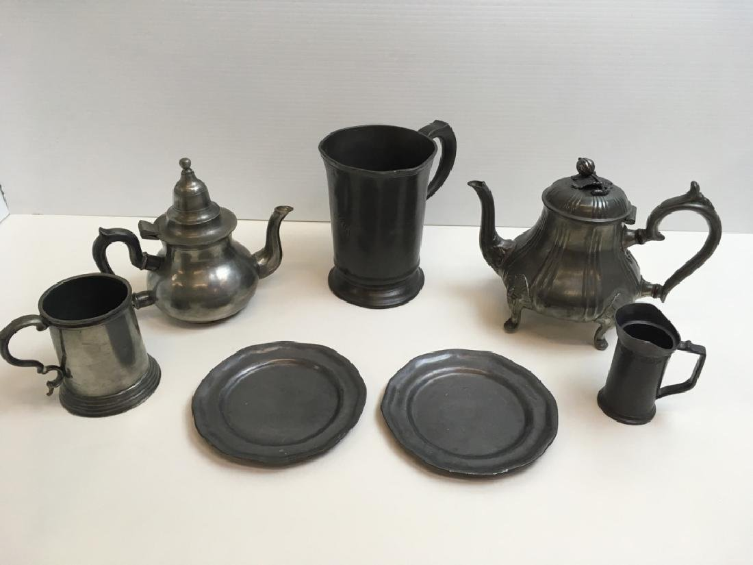 7 PCS ANTIQUE & 20TH C BRITANNIA METAL & PEWTER