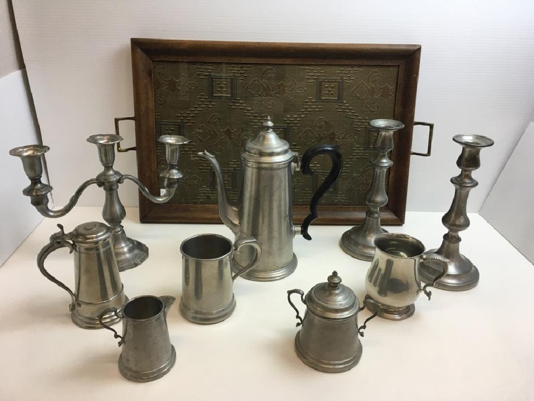 9 PCS OF PEWTER & HANDLED TRAY