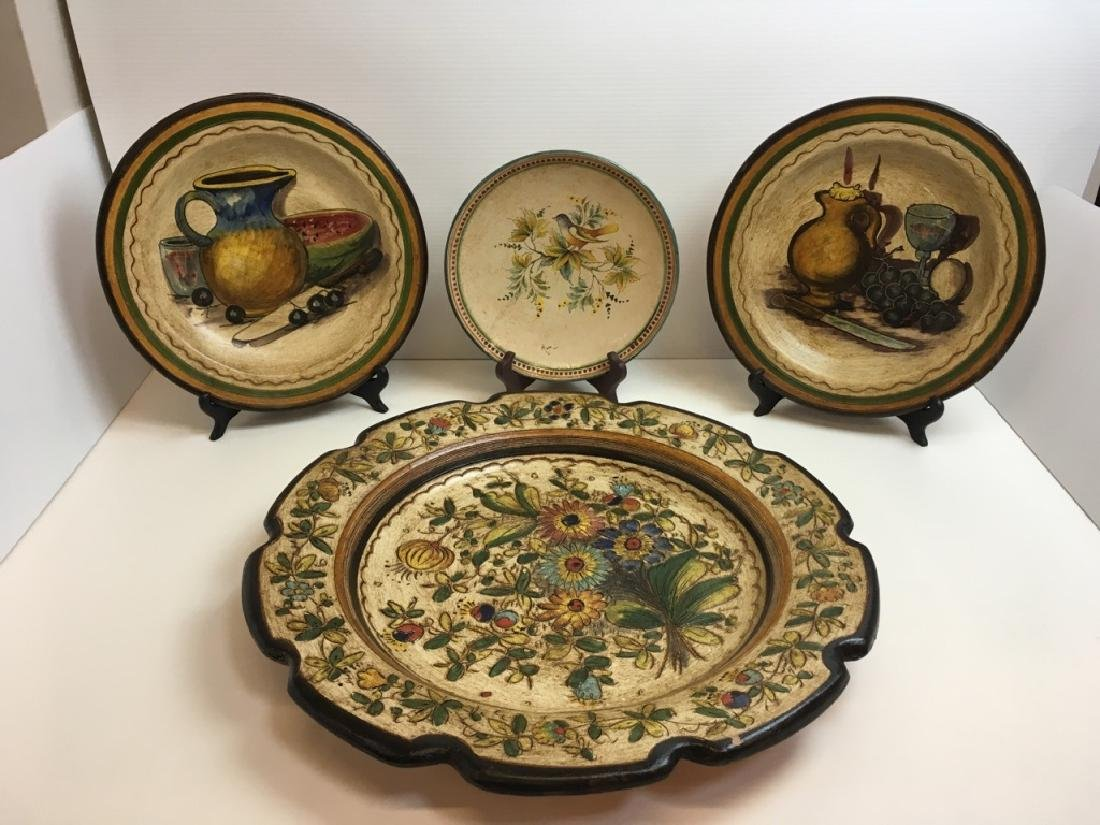 4 HAND PAINTED TERRACOTTA PLATES / CHARGERS