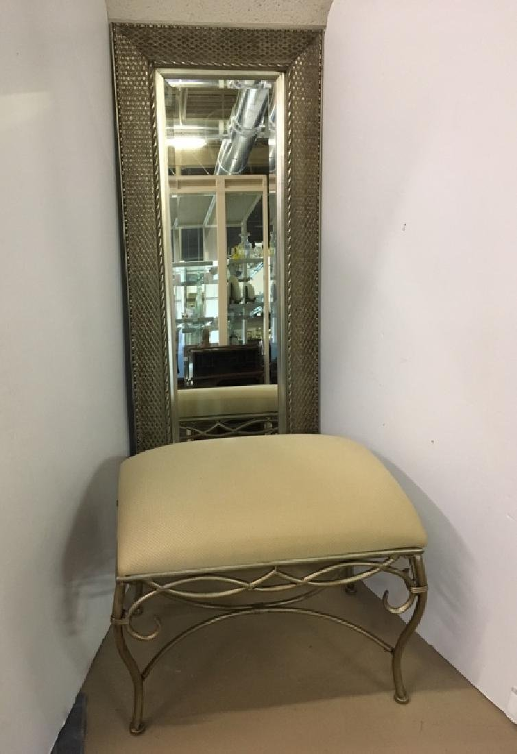 SILVERED FRAMED MIRROR & VANITY BENCH